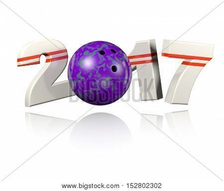 Bowling 2017 3D illustration design with a White Background