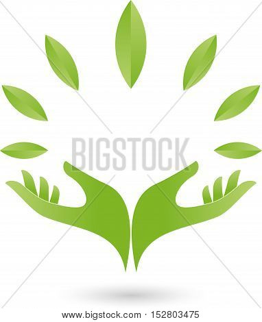 Two hands and leaves in green, naturopath and nature logo