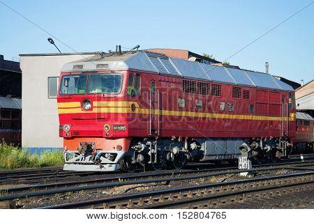 RYBINSK, RUSSIA - JULY 10, 2016: Soviet passenger locomotive TEP-70 in the locomotive depot. Tourist landmark of the city Rybinsk