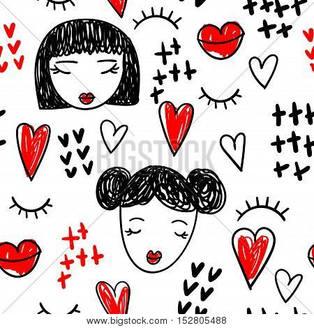 Abstract seamless pattern with doodle: eyelashes, red lips, girls faces. Vector illustration.