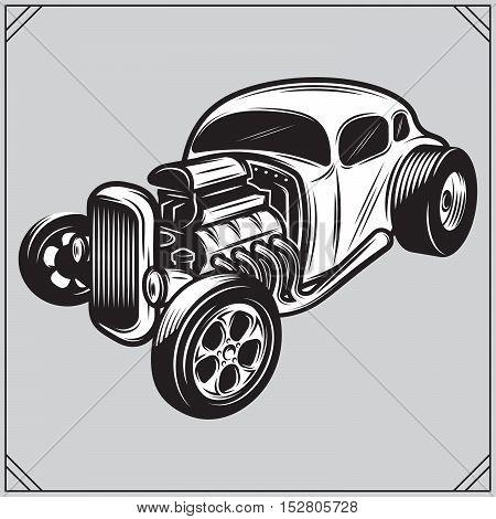 vector illustration of a stylish monochrome hotrod on a gray background