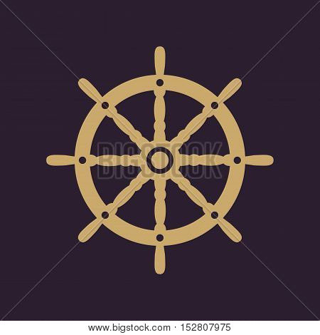The ship steering wheel icon. Sailing symbol. Flat Vector illustration