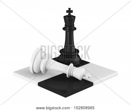 Chess King Pieces Checkmate  isolated on white background. 3D render