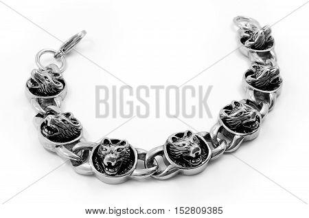 Bracelet For Men - Wolf Head - Stainless Steel