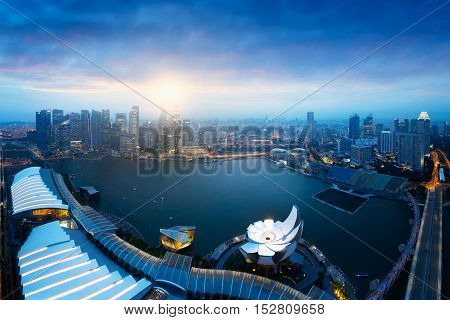 Singapore`s business district Singapore city Skyline Singapore