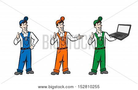 Advertasing men in boilersuit are showing advantages of your goods and services. They can be coloured as you need.