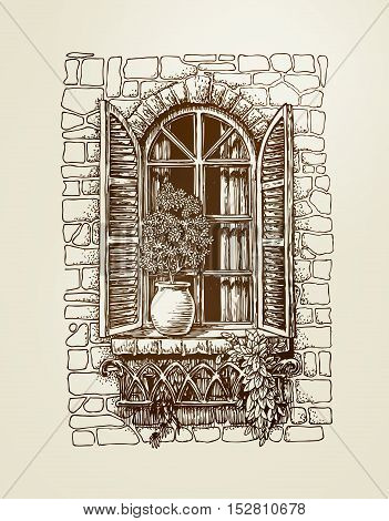 Window with wooden shutters. Vintage sketch. Vector