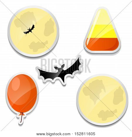 Set of Halloween stickers. Moon, Candy corn, bat balloon icons