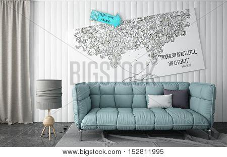 Interior turquoise lounge with sofa, interior design