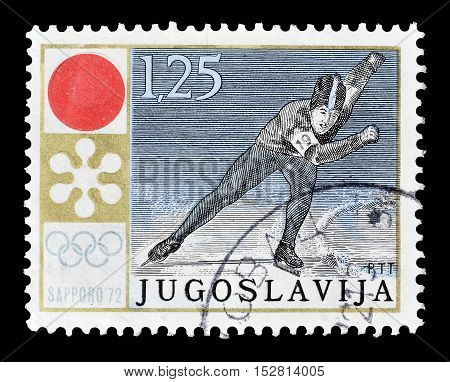YUGOSLAVIA - CIRCA 1972 : Cancelled postage stamp printed by Yugoslavia, that shows Ice skating race.