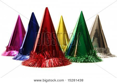 Isolated birthday party hats