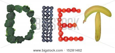 Diet spelled out in fruit and vegetables.