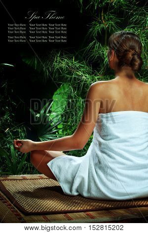 portrait of young beautiful woman in spa environment. Banner, extra space for your text.
