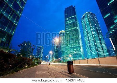 Road Light Trails At Streetscape Office Buildings In Shanghai