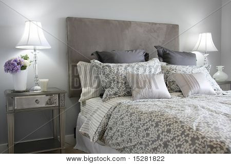 Beautiful master bedroom in classic grey.