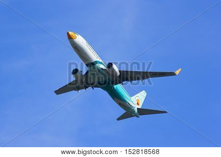 CHIANGMAI, THAILAND - JULY 25 2014: HS-DBO Boeing 737-800 with winglet of NokAir ( Low-cost Airline ), Takeoff from Chiangmai airport to Bangkok Don Muang Airport.