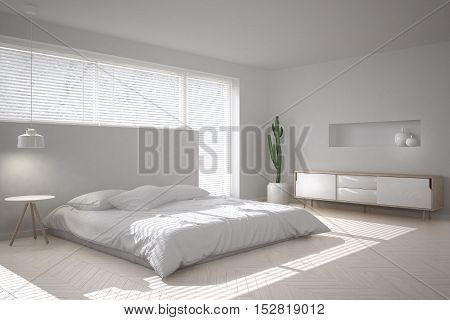 White minimalistic bedroom, scandinavian style, 3d illustration