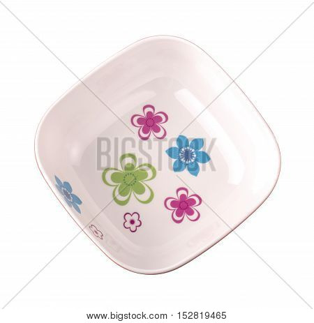 red empy salad bowl isolated on white background top view