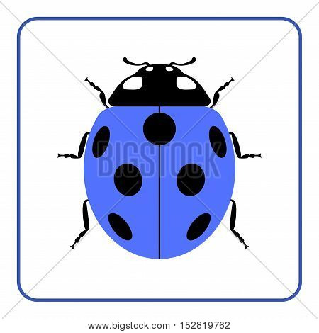 Ladybug small icon. Blue lady bug sign isolated on white background. Wildlife animal design. Cute colorful ladybird. Insect cartoon beetle. Symbol of nature spring or summer. Vector illustration