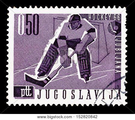 YUGOSLAVIA - CIRCA 1966 : Cancelled postage stamp printed by Yugoslavia, that shows Hockey.