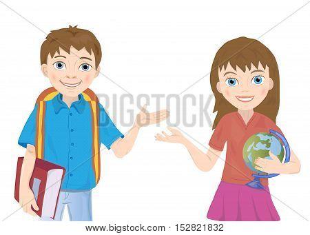 portrait of schoolboy and schoolgirl vector on white background