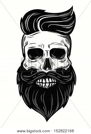 vector Bearded skull illustration on white background
