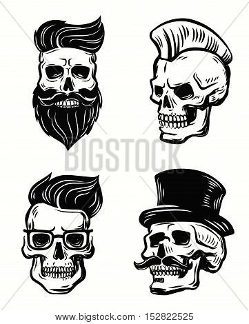 vector set skull illustration on white background