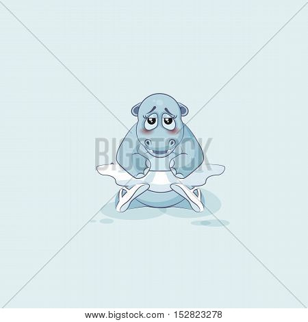 Vector Stock Illustration isolated Emoji character cartoon ballerina Hippopotamus embarrassed, shy, blushes sticker emoticon for site, info graphic, video, animation, website, mail, newsletter, report