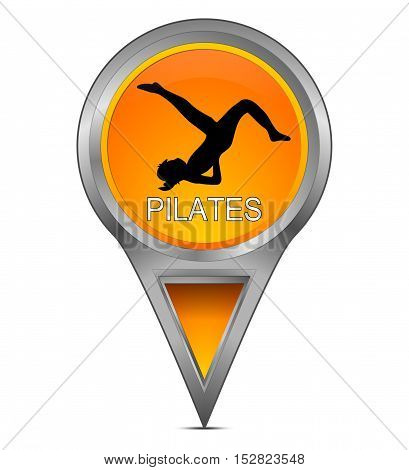 orange Map pointer with Pilates - 3d  illustration