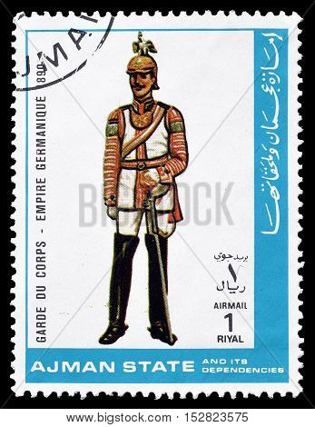 AJMAN STATE - CIRCA 1972 : Cancelled postage stamp printed by Ajman State, that shows German soldier.