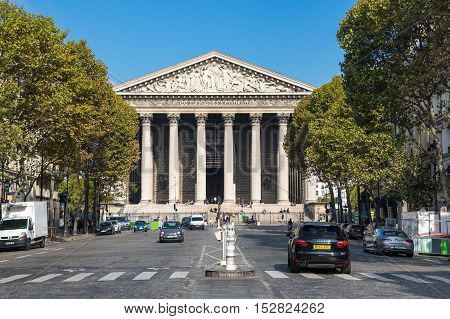 PARIS FRANCE - OCTOBER 11 2015: L'eglise de la Madeleine is actually a church dedicated to Saint Mary Magdalene Paris France