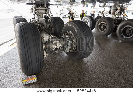 Lufthansa Airbus A380 Airplane Workers Tires
