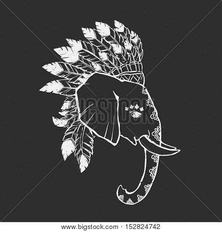 Elephant head with american indian chief headdress feather. Print for clothes, cards, picture banner for websites. Ethnic Indian ornaments. Vector illustration