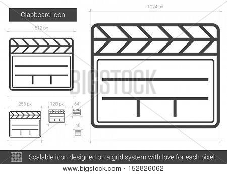 Clapboard vector line icon isolated on white background. Clapboard line icon for infographic, website or app. Scalable icon designed on a grid system.