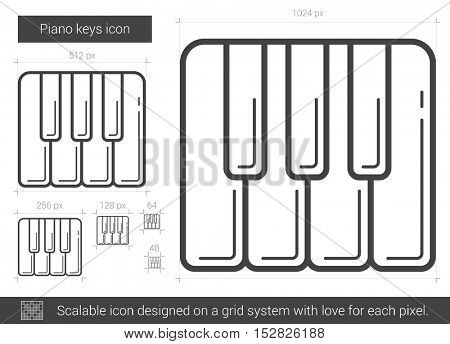 Piano keys vector line icon isolated on white background. Piano keys line icon for infographic, website or app. Scalable icon designed on a grid system.