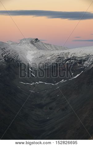 Glacial shaped valley at nightfall with beautiful sunset