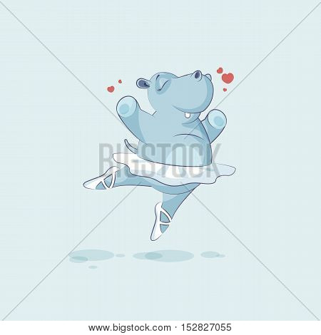 Vector Stock Illustration isolated Emoji character cartoon ballerina Hippopotamus jumping for joy, happy sticker emoticon for site, info graphic, animation, website, mail, newsletters, reports, comics