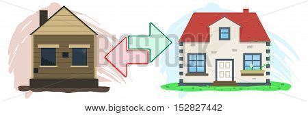 Flat real estate exchange on white background. Vector illustration