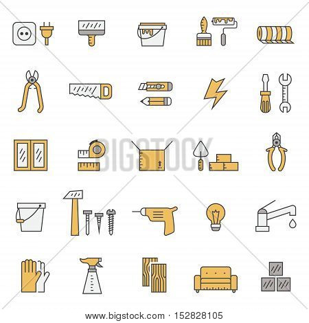 Home repair and construction outline gray and yellow vector icon set. Clean and simple design.