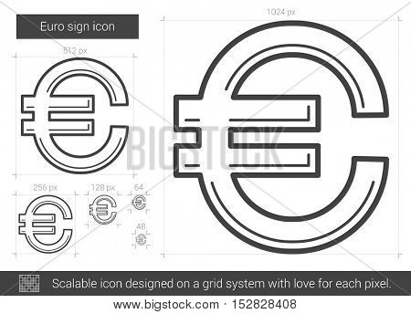 Euro sign vector line icon isolated on white background. Euro sign line icon for infographic, website or app. Scalable icon designed on a grid system.