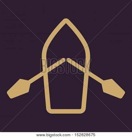 The boat and oars icon. Skiff And Paddle symbol. Flat Vector illustration
