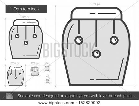 Tom tom vector line icon isolated on white background. Tom tom line icon for infographic, website or app. Scalable icon designed on a grid system.