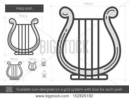 Harp vector line icon isolated on white background. Harp line icon for infographic, website or app. Scalable icon designed on a grid system.
