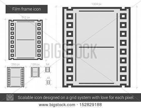 Film frame vector line icon isolated on white background. Film frame line icon for infographic, website or app. Scalable icon designed on a grid system.