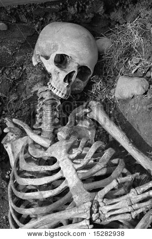 Human skeleton in an ancient grave.