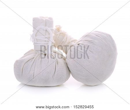 spa herbal Compressing ball on white background