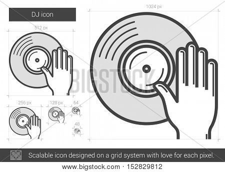 DJ vector line icon isolated on white background. DJ line icon for infographic, website or app. Scalable icon designed on a grid system.