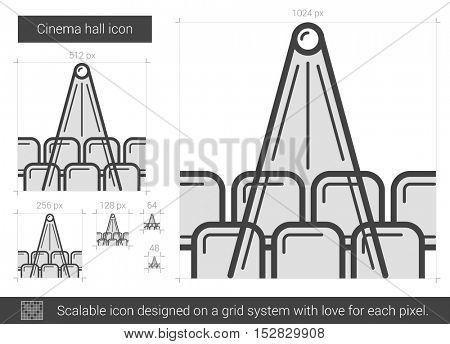 Cinema hall vector line icon isolated on white background. Cinema hall line icon for infographic, website or app. Scalable icon designed on a grid system.