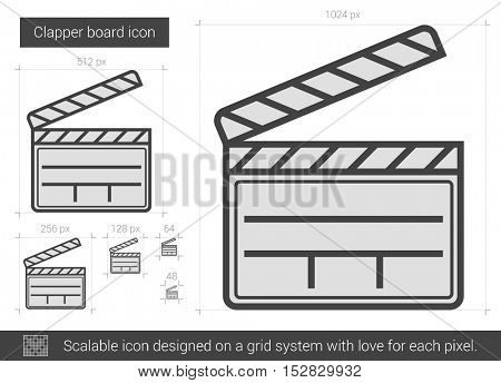 Clapper board vector line icon isolated on white background. Clapper board line icon for infographic, website or app. Scalable icon designed on a grid system.