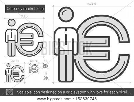 Currency market vector line icon isolated on white background. Currency market line icon for infographic, website or app. Scalable icon designed on a grid system.